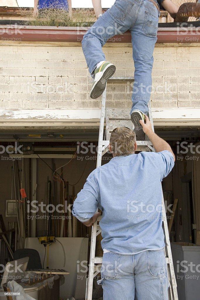Unsafe Ladder Work royalty-free stock photo