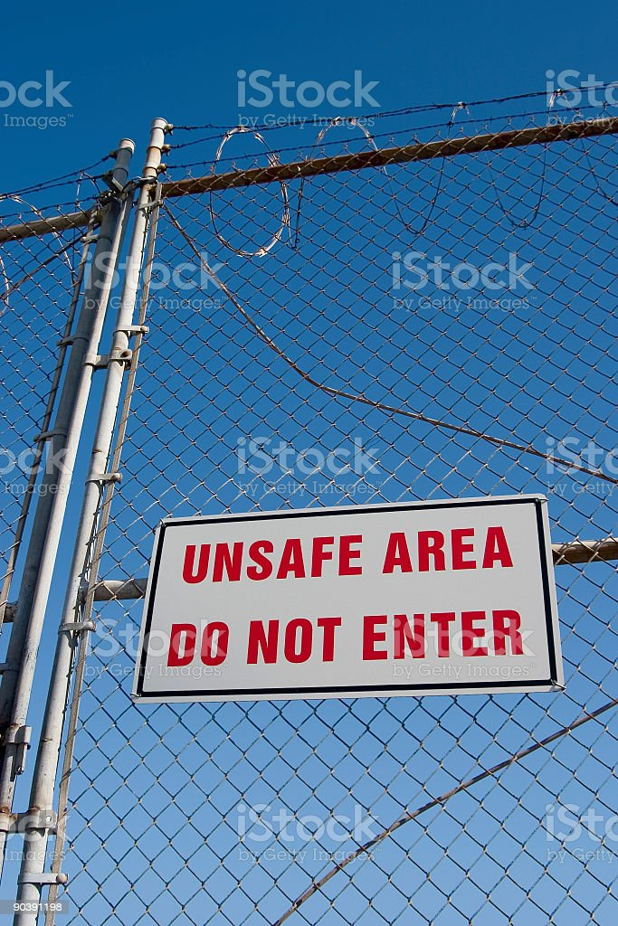 Unsafe Sign 1 stock photo