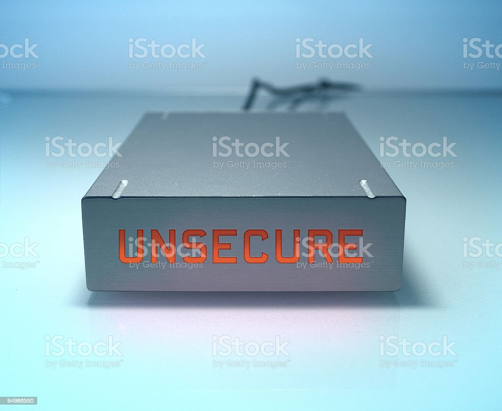 Unsecure harddrive stock photo