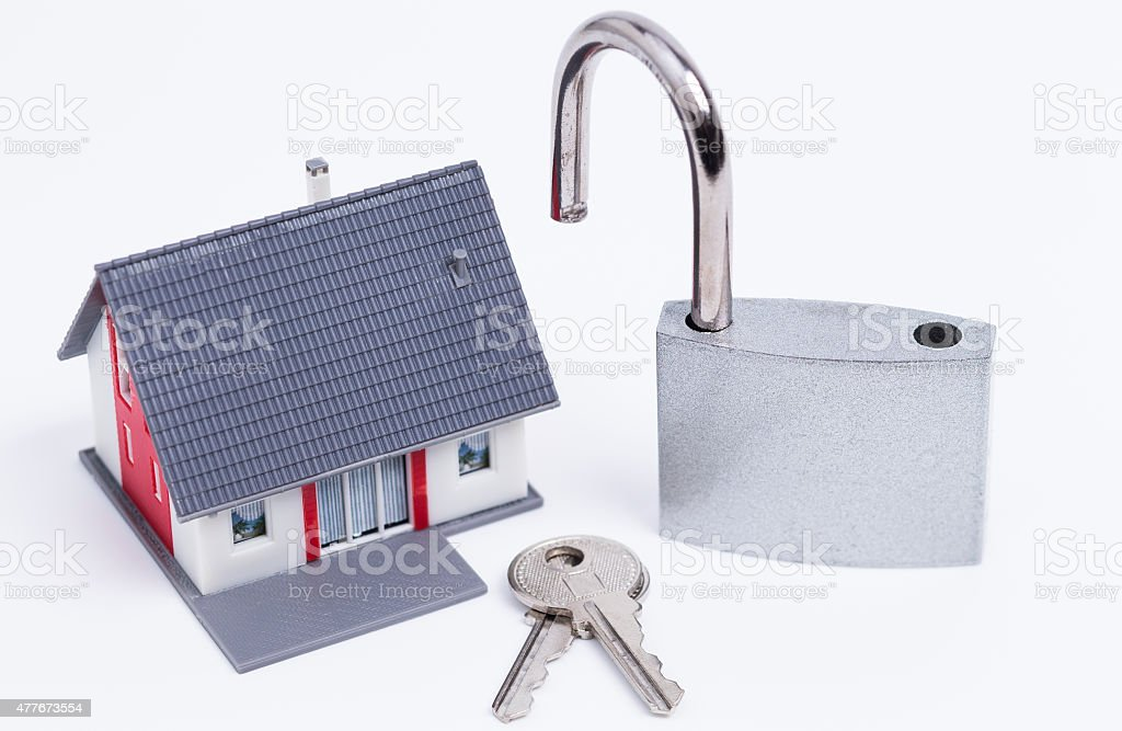 Unsecured house stock photo