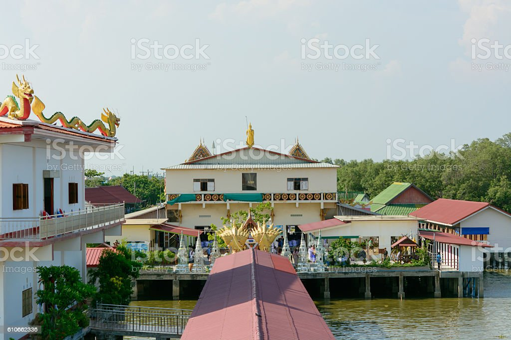 Unseen in Thailand sunset temple on the sea stock photo
