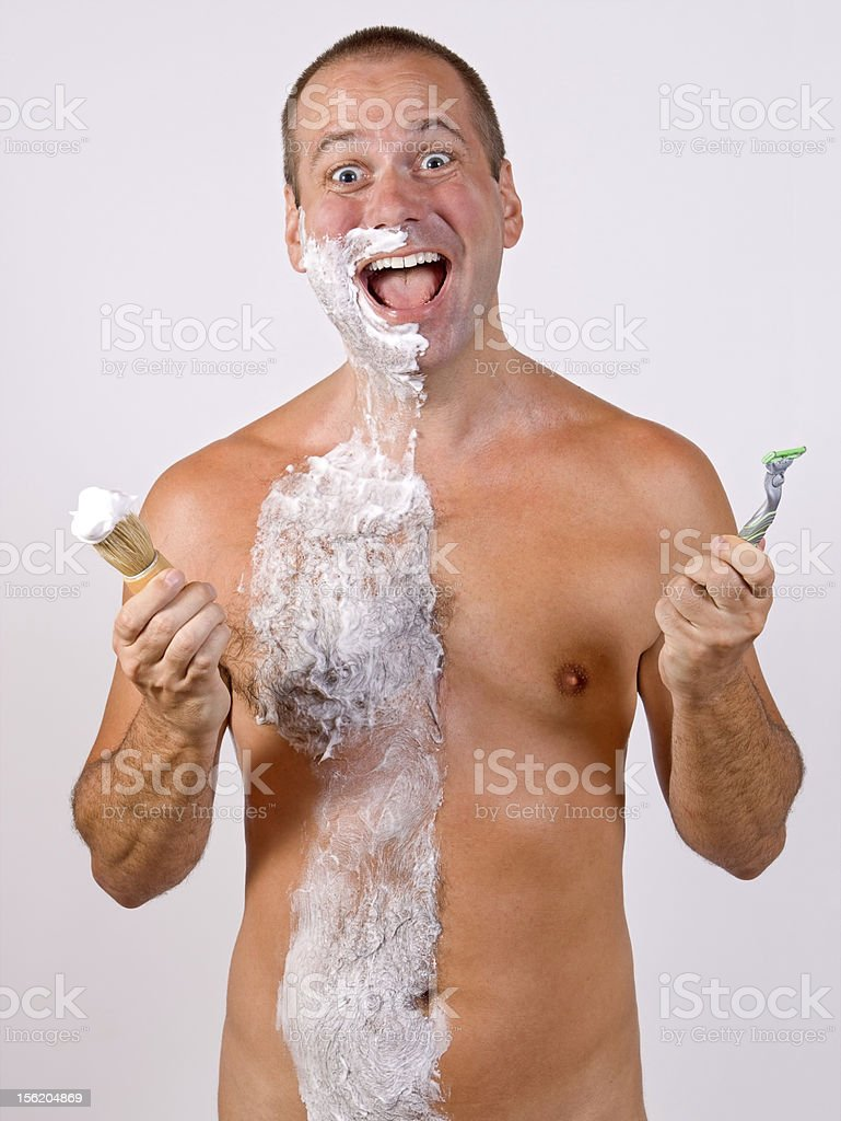 unshaved man with foam royalty-free stock photo