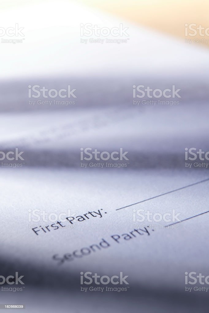 Unsigned Contract stock photo
