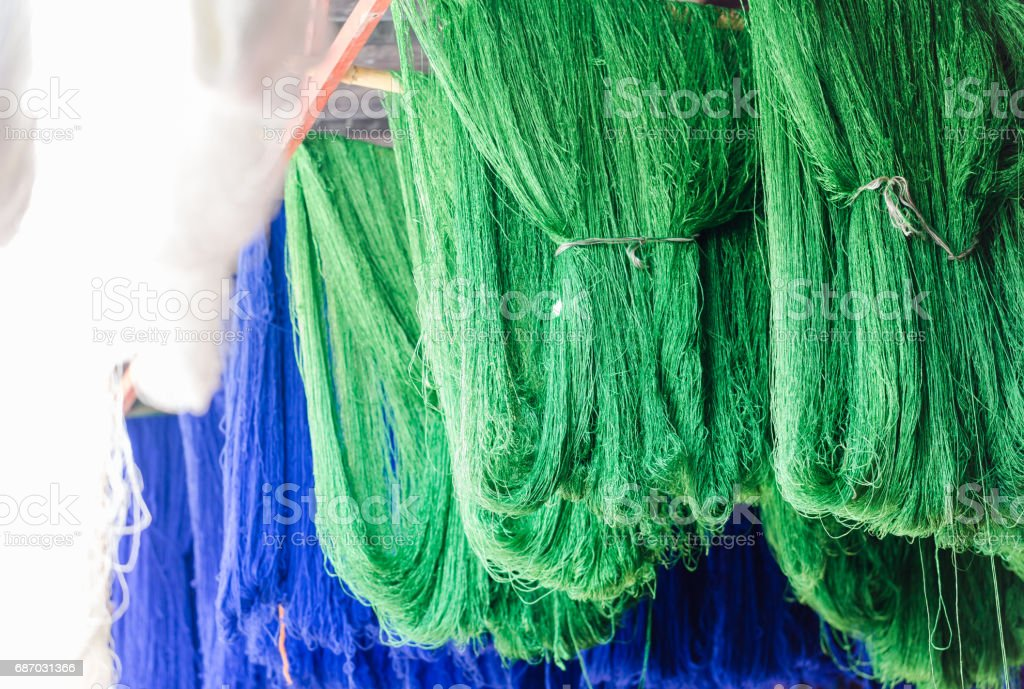 Unsorted painted sheep wool stock photo