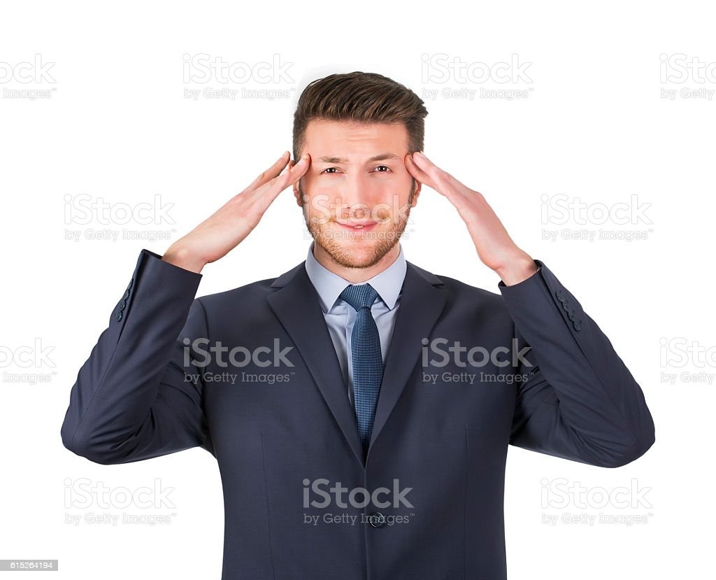 Unstable Man on White Background Isolated stock photo