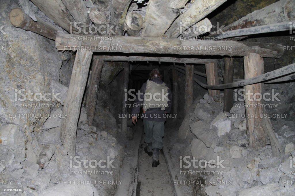 Unstable mine shaft in Potosi stock photo