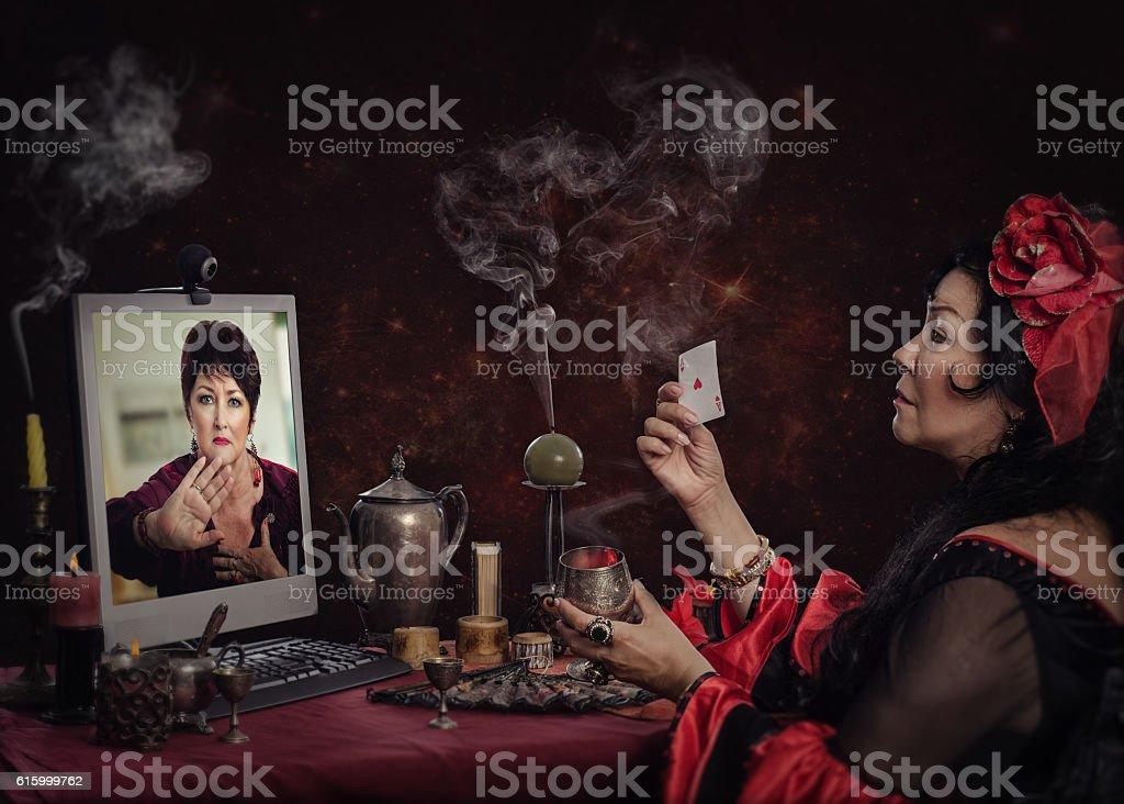 Unsuccessful cartomancy readings online stock photo