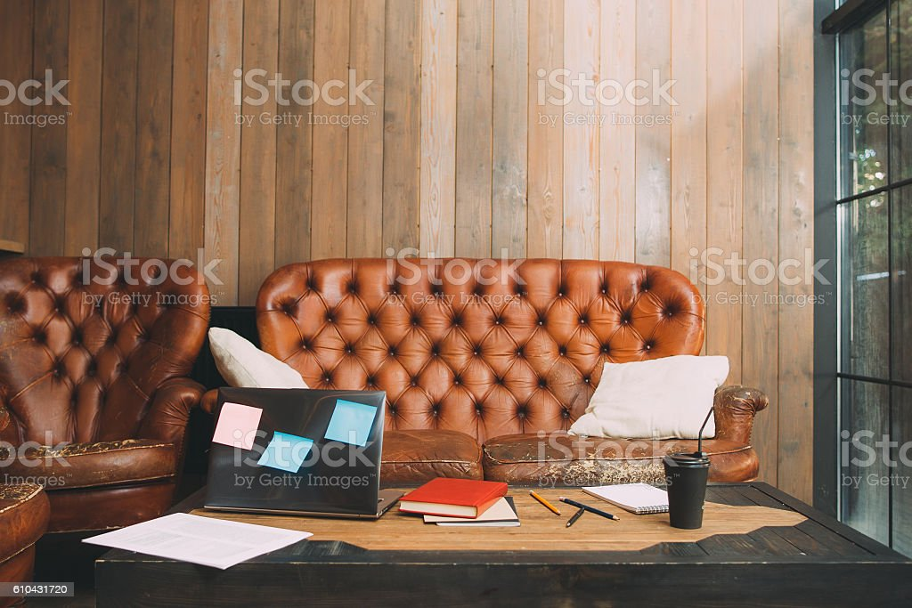 Unsuccessful office worker workplace stock photo