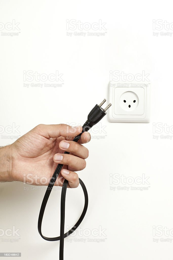 Unsuitable plug to electric outlet. royalty-free stock photo
