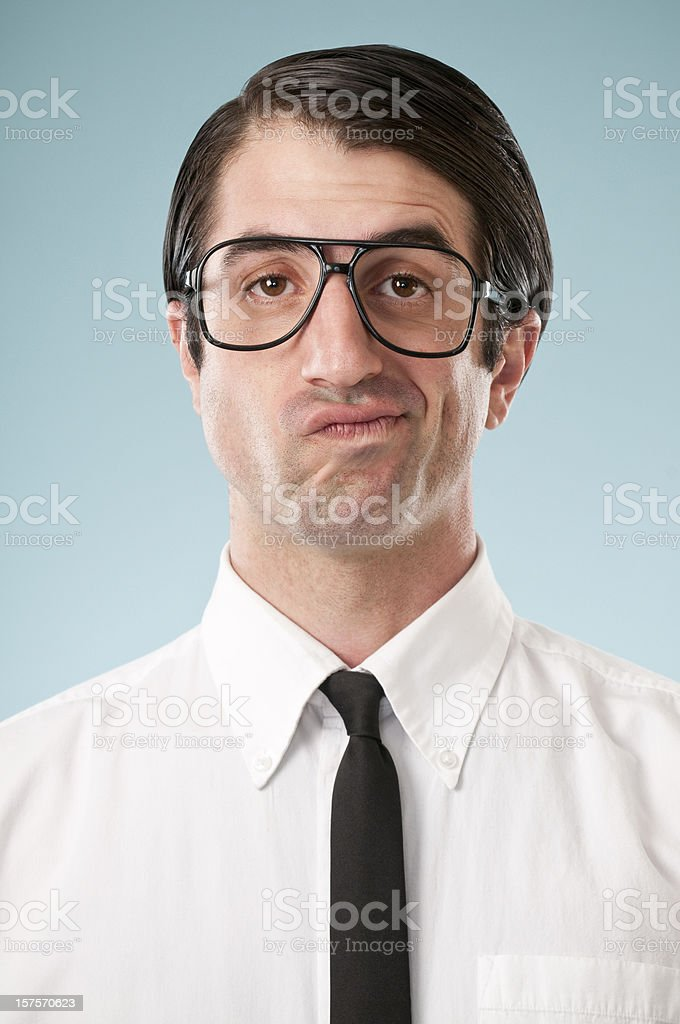 Unsure Nerdy Office Worker royalty-free stock photo