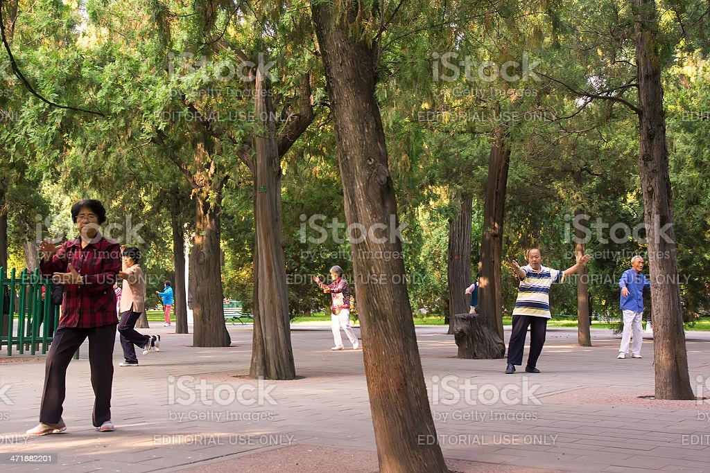 Unsynchronised Tai Chi royalty-free stock photo