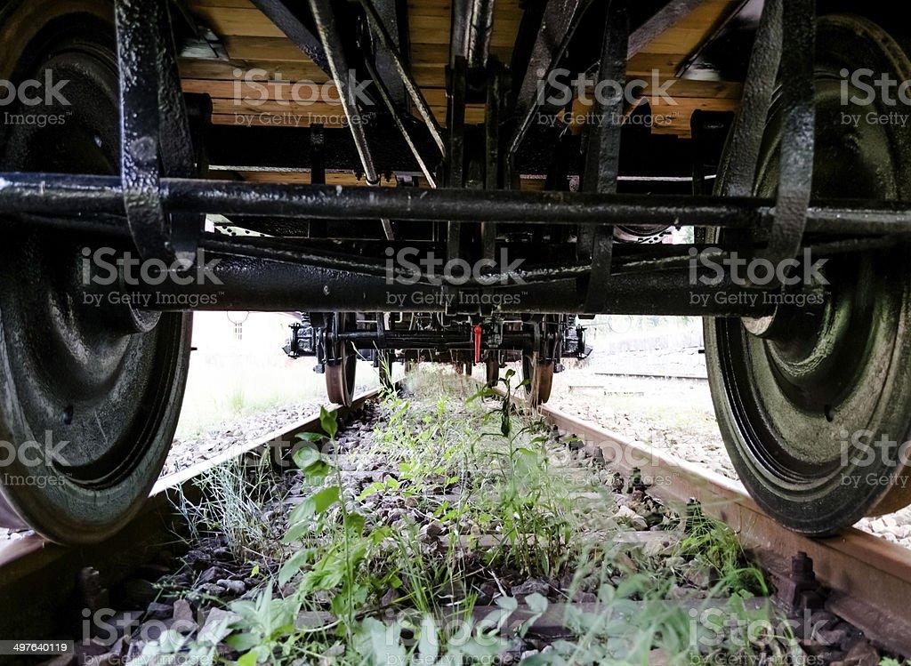Unter dem Zug stock photo