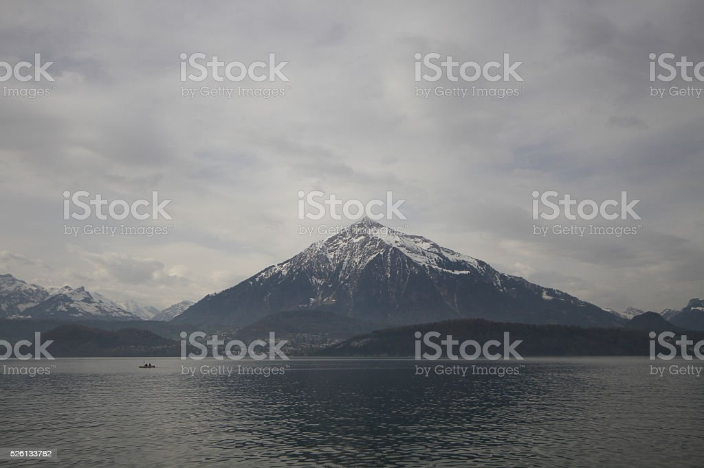 Unterseen or Interlaken lake at Switzerland stock photo