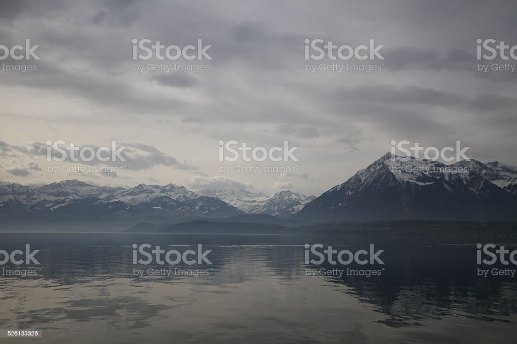 Unterseen or Interlaken lake at Thun, Switzerland stock photo