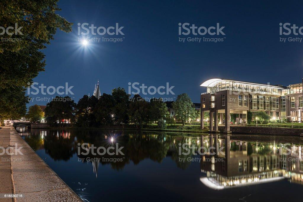 Untertrave in Luebeck with view to Radisson Blu Senator Hotel stock photo