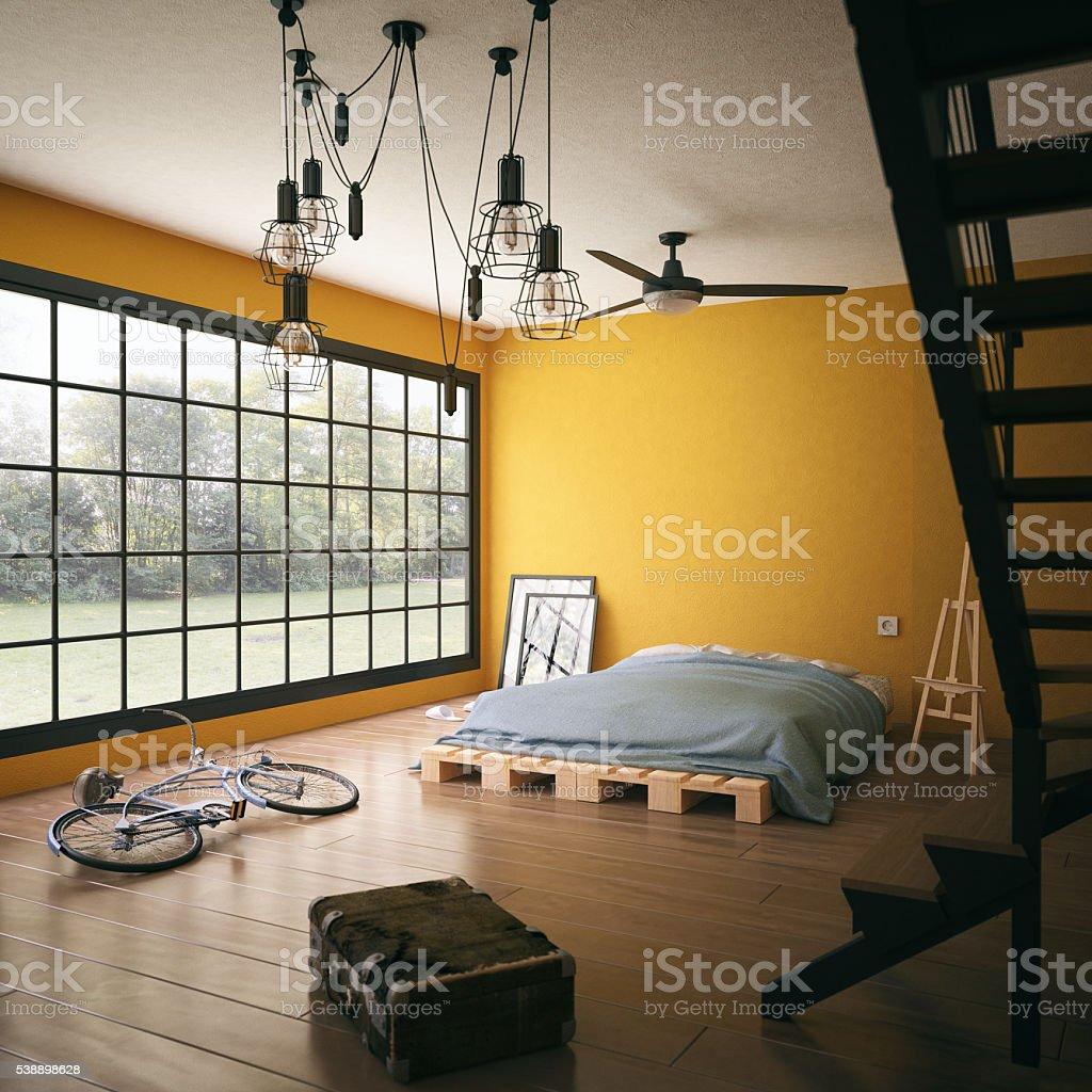 Untidy loft room stock photo