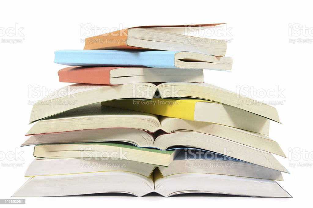 Untidy pile of paperback books royalty-free stock photo