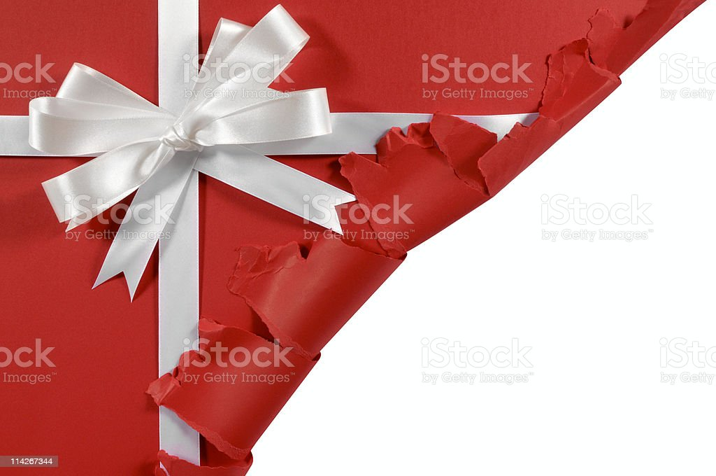 Untidy torn red gift stock photo