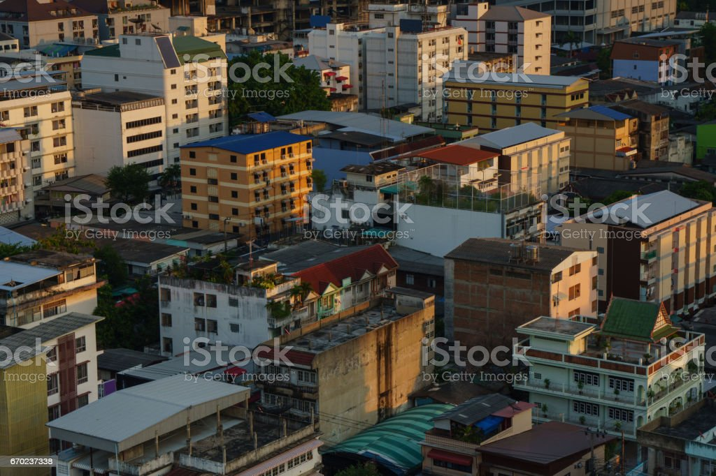 Untidy town on the evening poor light , Bangkok Thailand stock photo