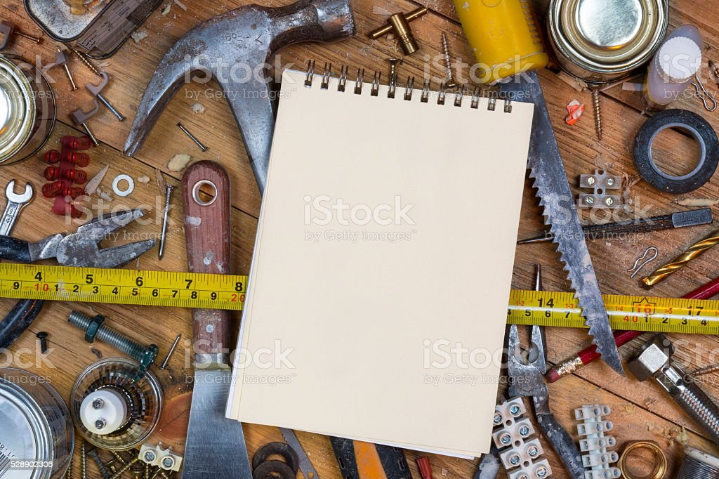 Untidy Workbench - Old Tools - Space for Text stock photo