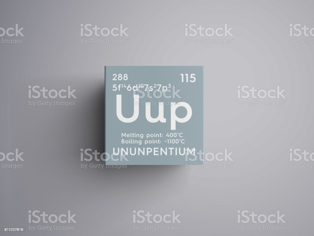 Ununpentium. Post-transition metals. Chemical Element of Mendeleev's Periodic Table. stock photo