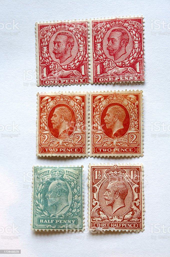 Unused Edwardian Stamps stock photo