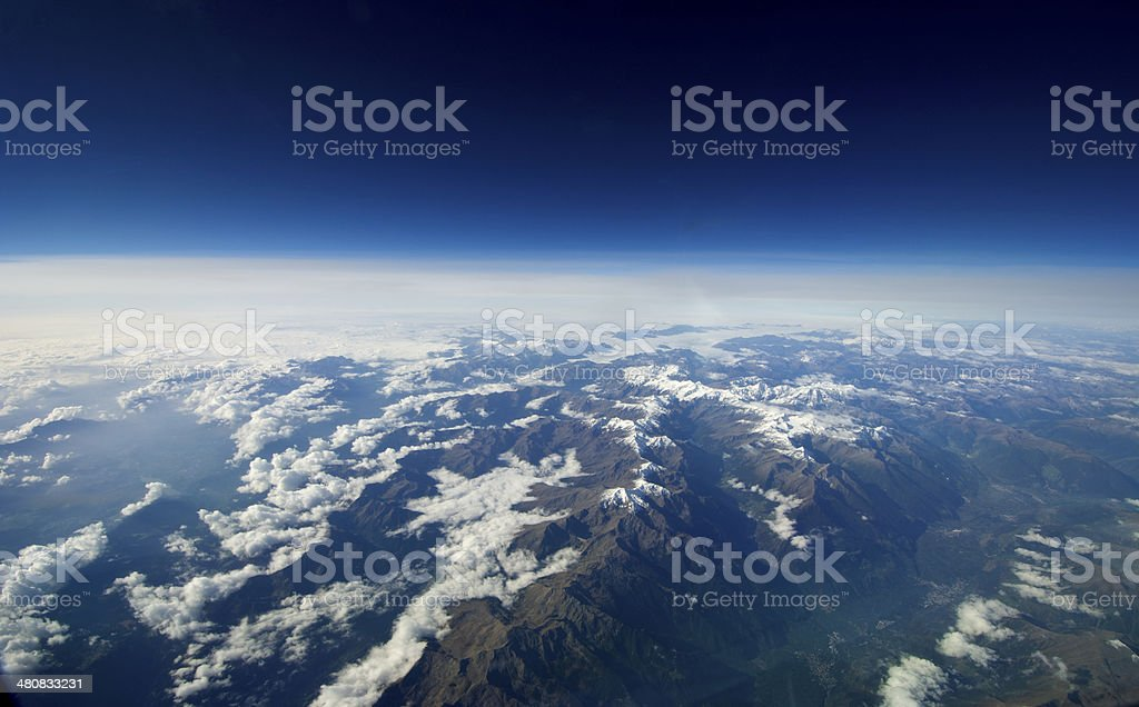Unusual aerial landscape and clouds. stock photo