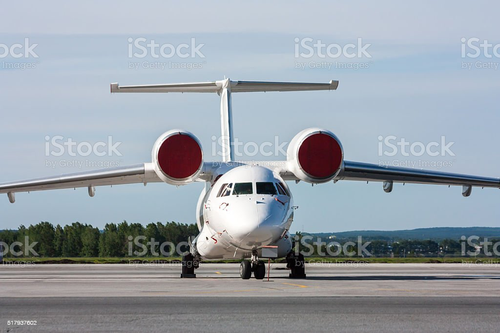 Unusual aircraft on the apron royalty-free stock photo