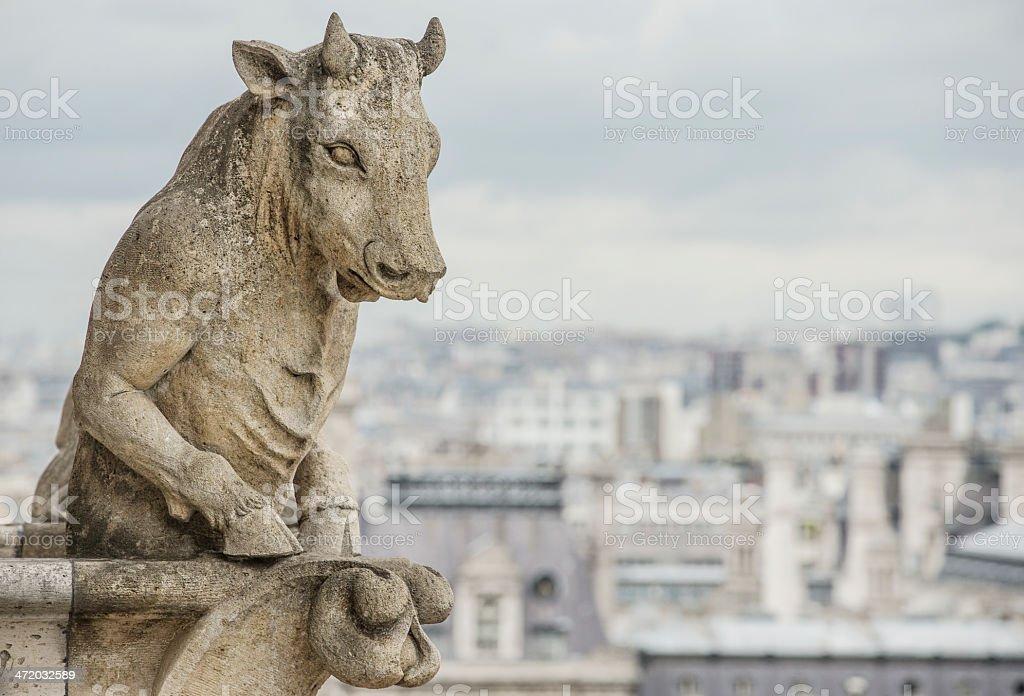 Unusual Bull Gargoyle on Notre Dame Paris royalty-free stock photo