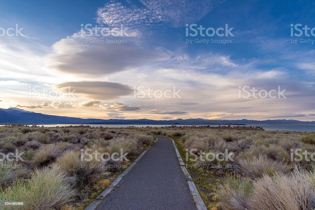 unusual clouds over the Mono Lake at sunset stock photo