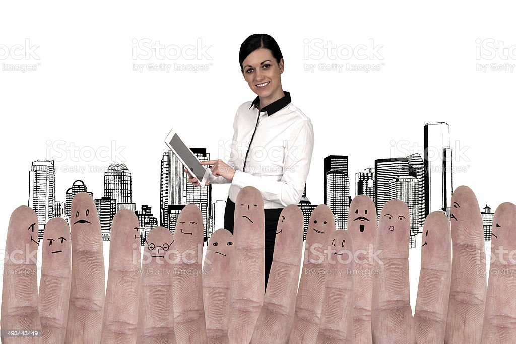 Unusual concept - business woman and fingers as subordinates royalty-free stock photo
