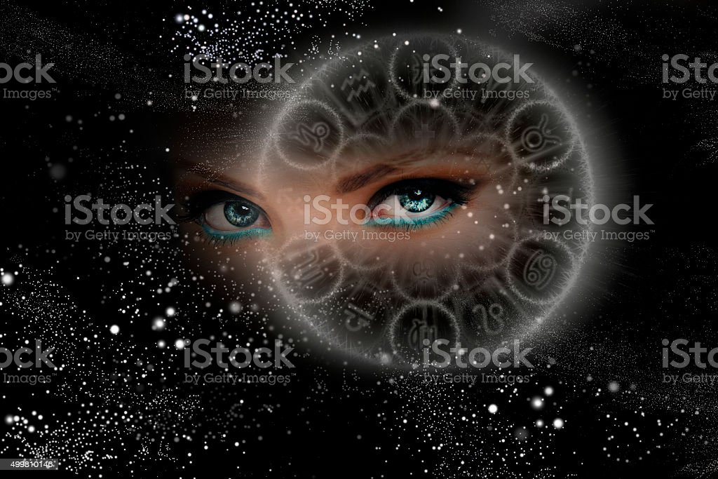 Unusual eyes of the Universe, zodiac signs stock photo