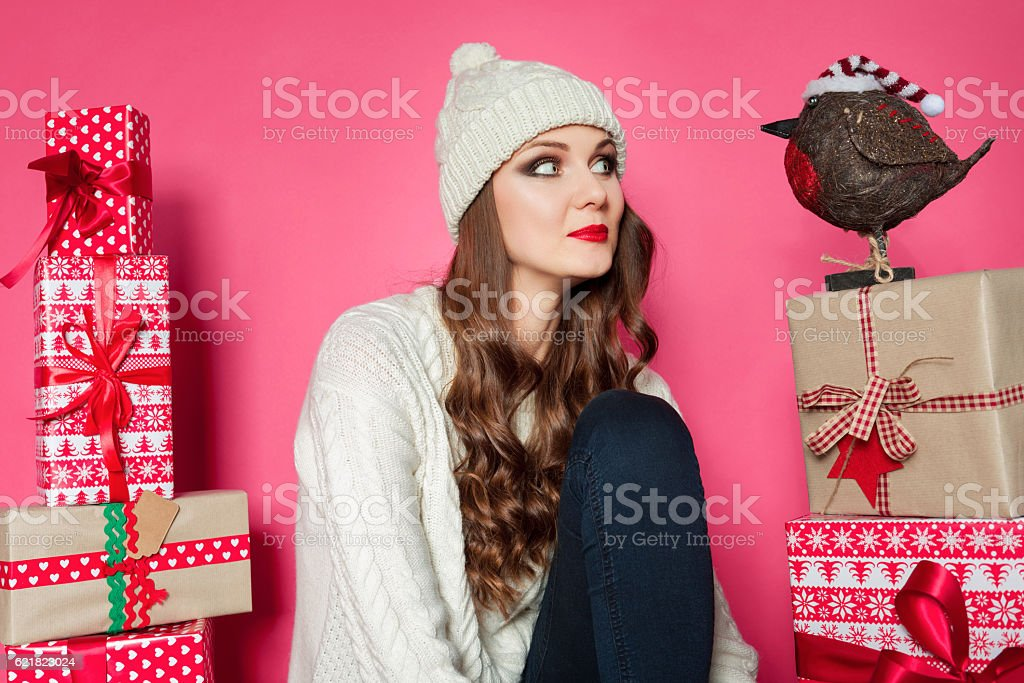 Unusual funny xmas concept with bokeh background stock photo