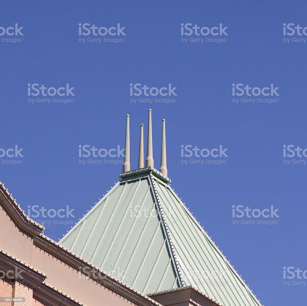 Unusual Lightning Rod On A Building stock photo