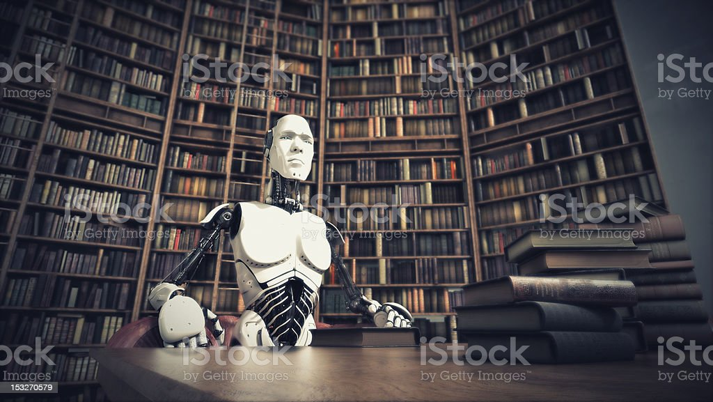Unusual robot in the library sitting at a wooden table stock photo