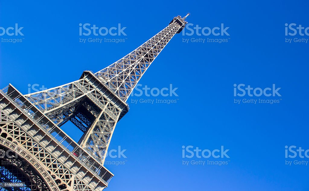 Unusual view of Eiffel tower in clear sky stock photo
