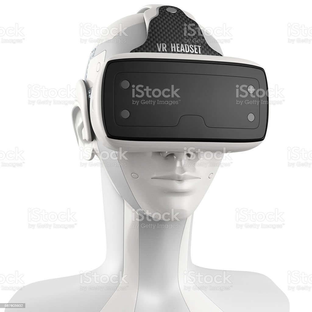 Unusual virtual reality headset with integrated headphones on a stock photo