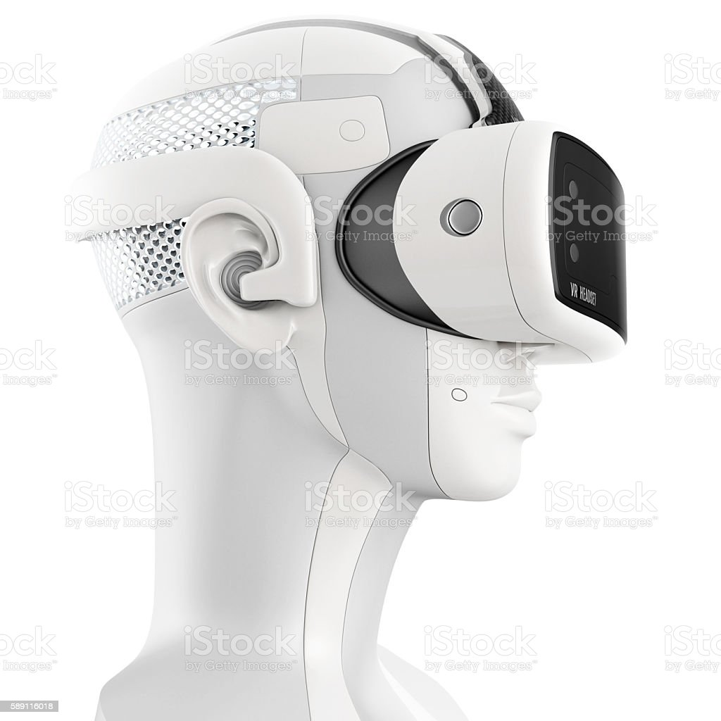 Unusual virtual reality headset with integrated headphones stock photo