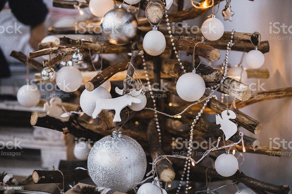 Unusual wooden handmade Christmas tree stock photo