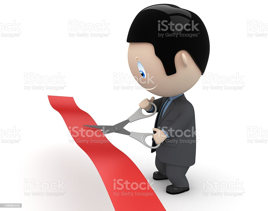 Unveiling ceremony. Man cutting red ribbon. Social network userpic concept. stock photo
