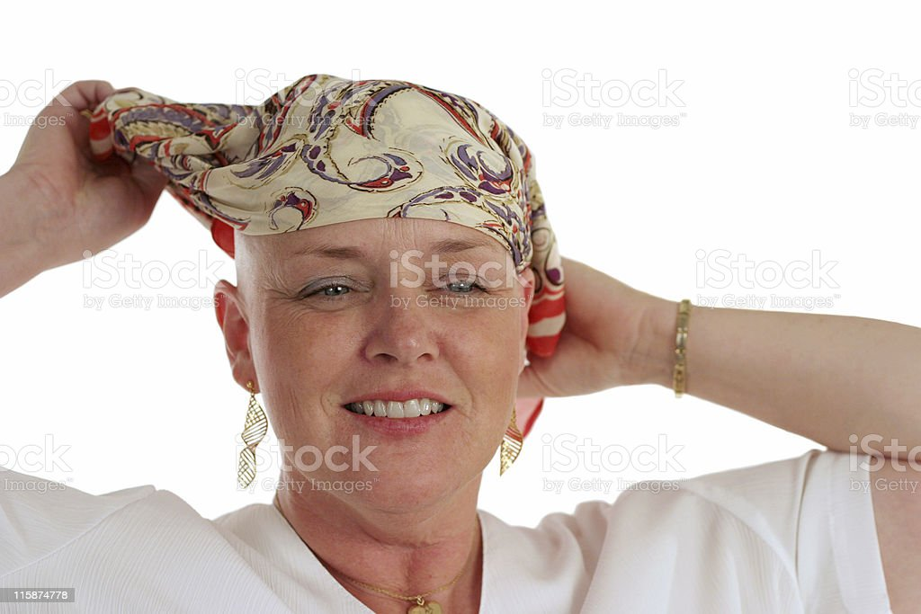 Unveiling - Preparing to Remove Scarf royalty-free stock photo