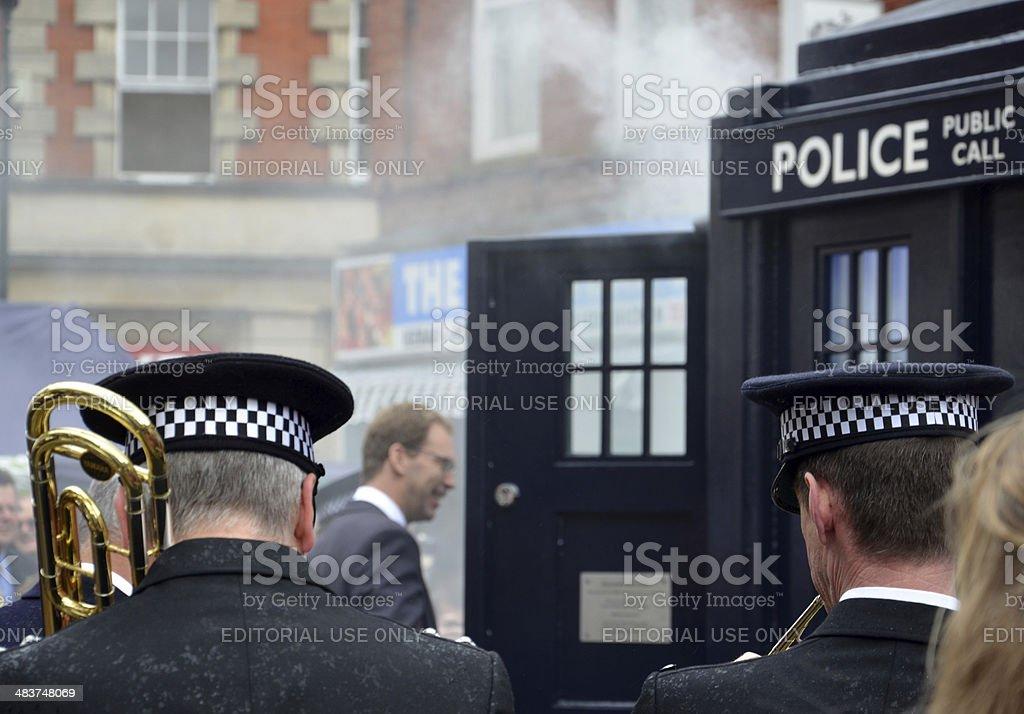 MP Unveils Tardis-style Police Call Box stock photo