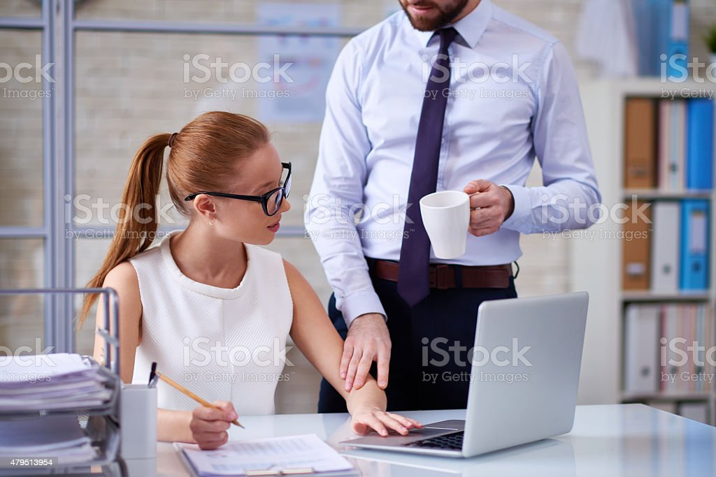 Unwelcome flirting stock photo
