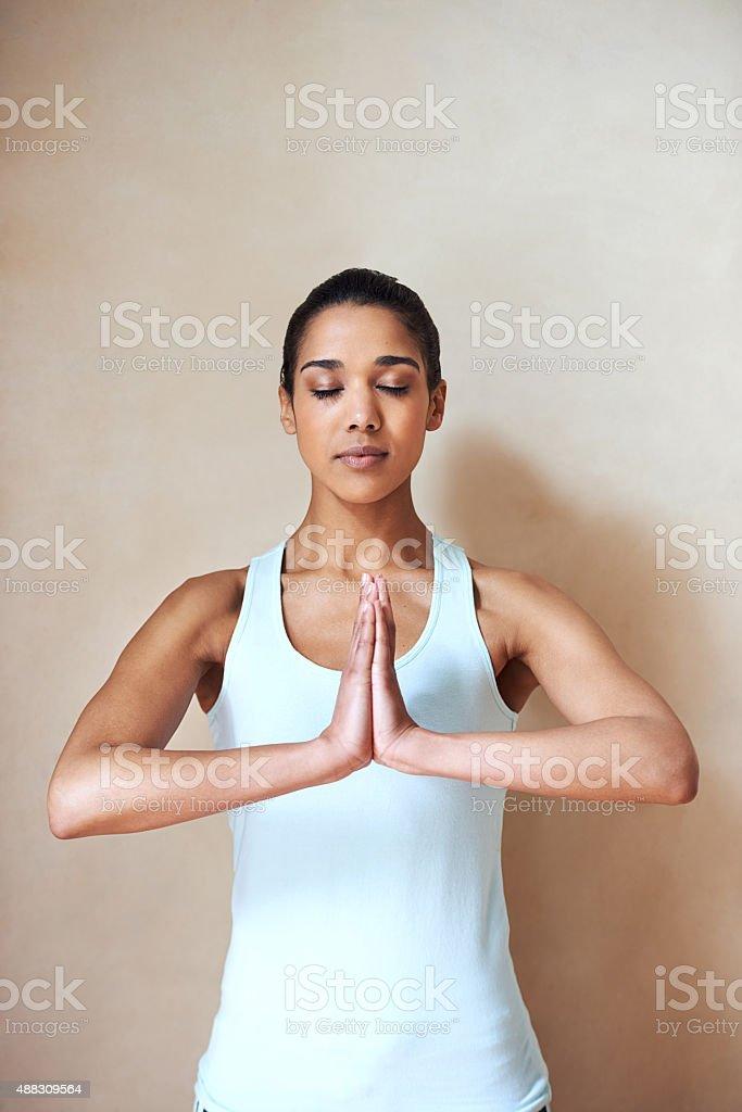 Unwinding with some yoga stock photo