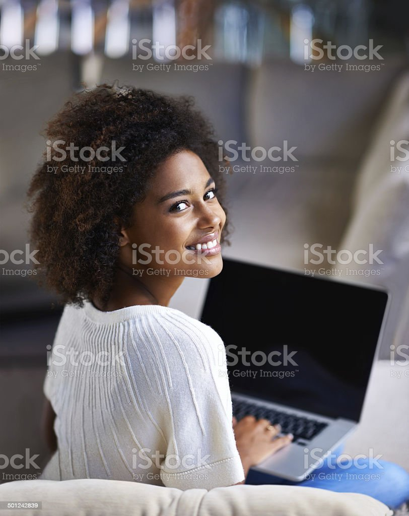 Unwinding with the internet stock photo
