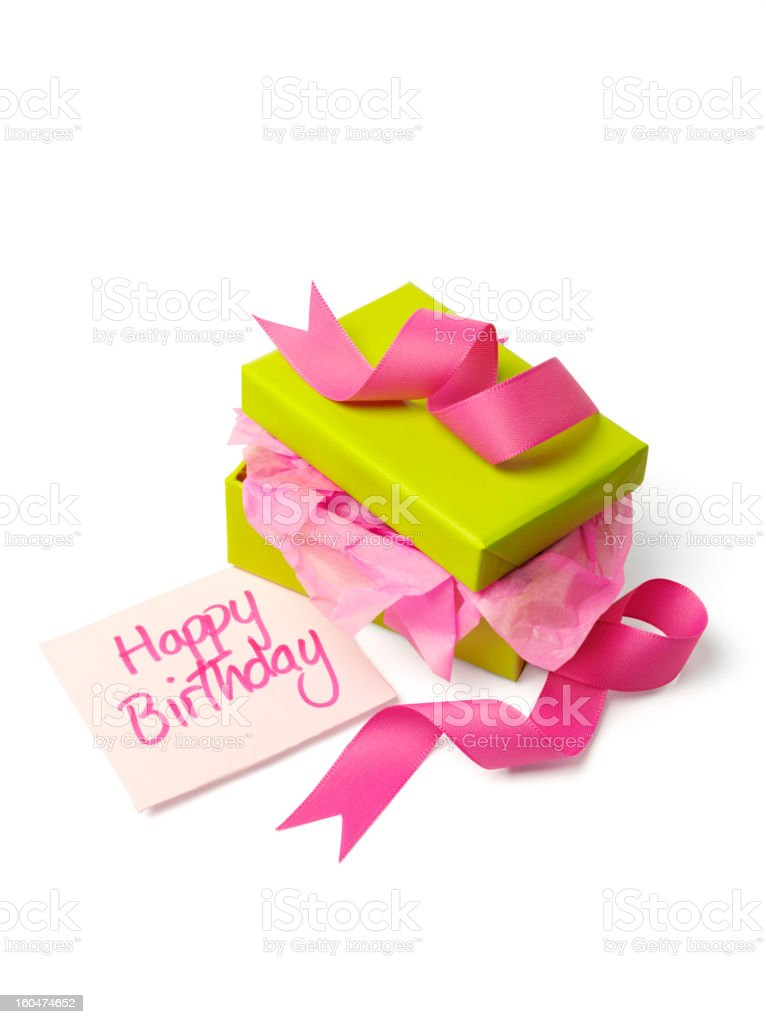 Unwrapped Birthday Gift royalty-free stock photo