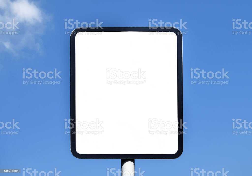 Unwritten sign in the sunny day on the blue sky stock photo