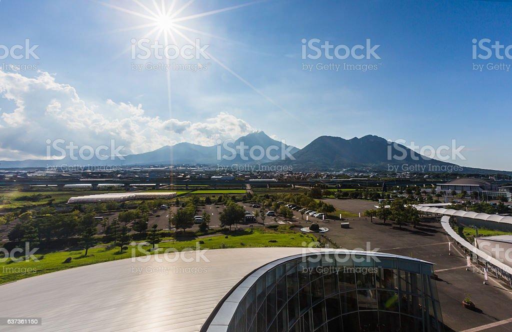 Unzen volcano mountain from distance. stock photo