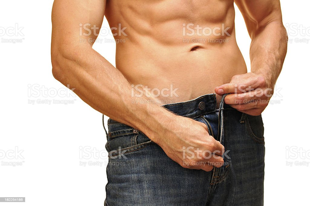 Unzip jeans royalty-free stock photo