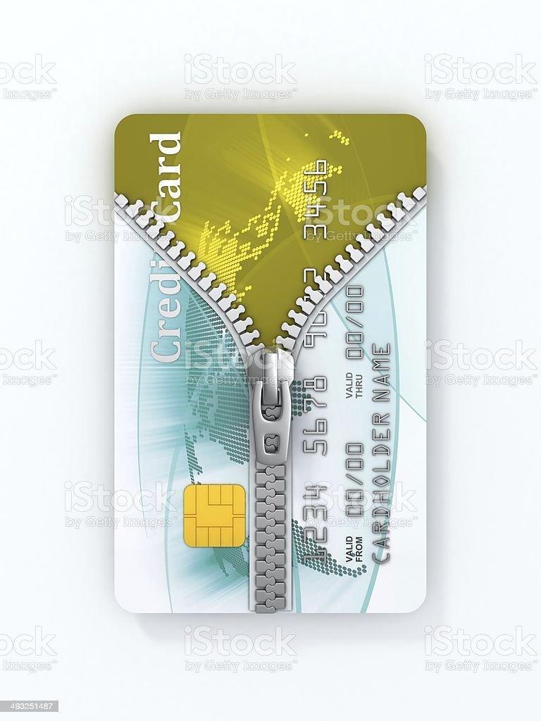 unzipped credit card 3d concept stock photo